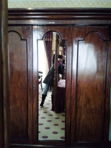 The mirror that used to reflect Charles Dickens ... reflecting me, at the The Charles Dickens Museum in Holborn, London. Photo: Roz DeKett